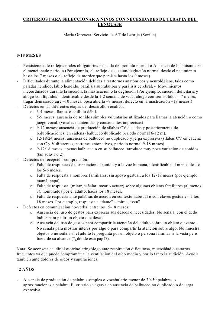 CRITERIOS PARA SELECCIONAR A NIÑOS CON NECESIDADES DE TERAPIA DEL                                  LENGUAJE               ...