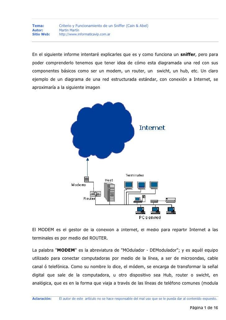 Tema:         Criterio y Funcionamiento de un Sniffer (Cain & Abel)Autor:        Martin MartínSitio Web:    http://www.inf...