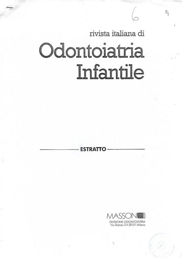 Lorenzo Damia - Criteri prognostici relativi al successo della sedazione cosciente in pedodonzia