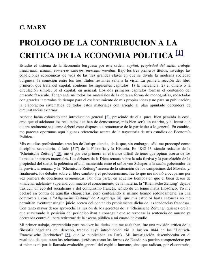 C.MARXPROLOGODELACONTRIBUCIONALACRITICADELAECONOMIAPOLITICA[1]Estudio  el sistema de la Economía burgues...