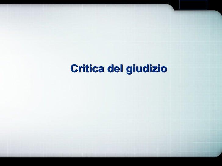 Critica del giudizio