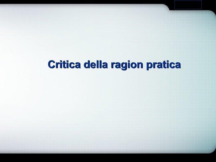 Critica della ragion pratica