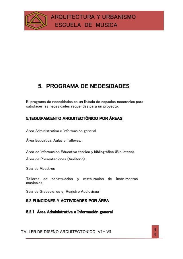 Escuela de musica informe de entrega for Programa arquitectonico biblioteca