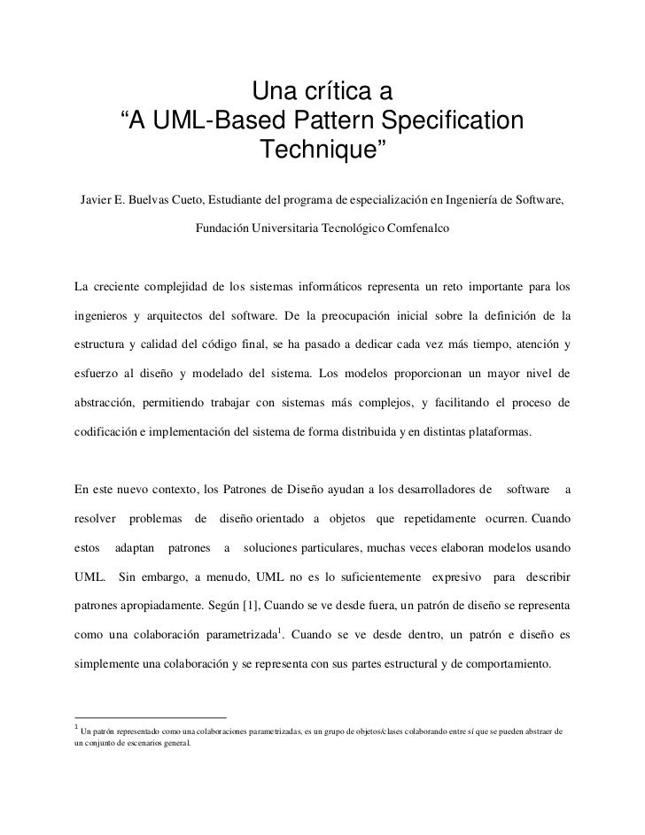 "Una crítica a             ""A UML-Based Pattern Specification                       Technique"" Javier E. Buelvas Cueto, Est..."