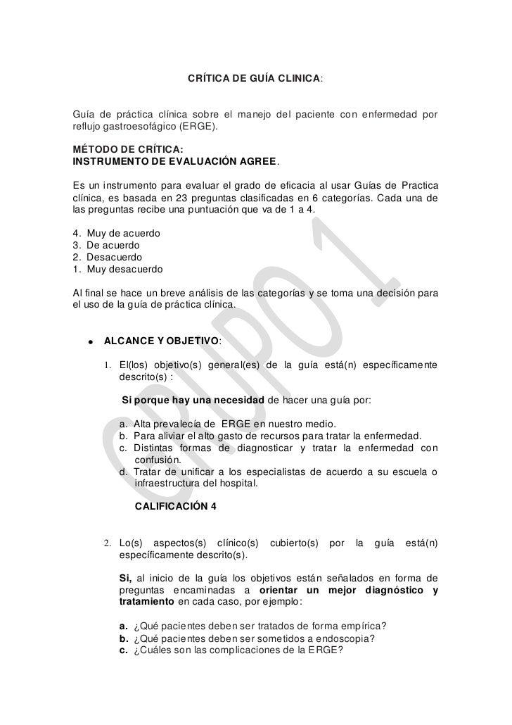 CRÍTICA DE GUÍA CLINICA:   Guía de práctica clínica sobre el manejo del paciente con enfermedad por reflujo gastroesofágic...