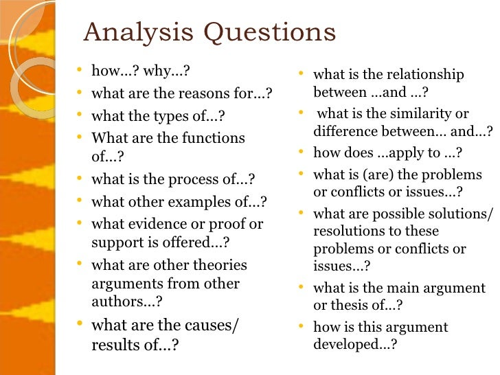 Analysis Questions .