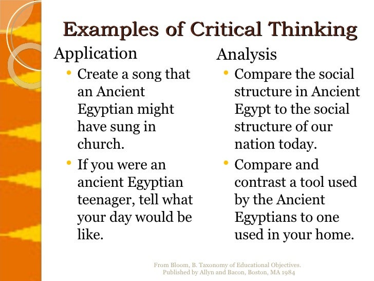 example of critical thinking How you will benefit explore real-world examples of why critical thinking is so important in business learn to use critical thinking.
