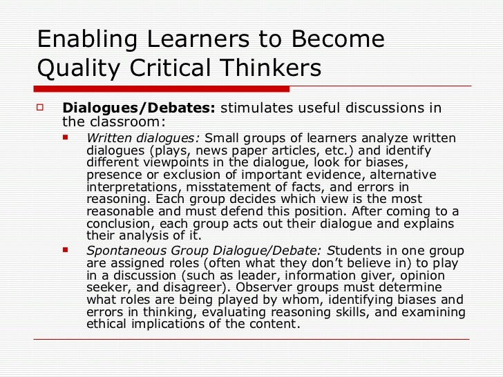 articles on critical thinking in education