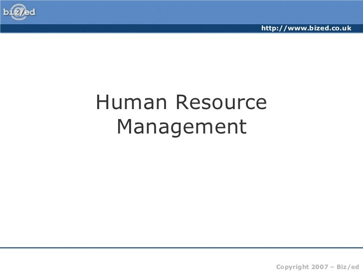 Human Resource Management<br />