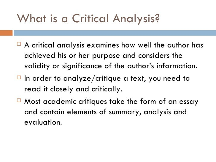 critical analysis