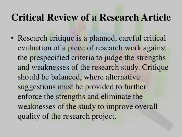Critical Analysis Of Research Report