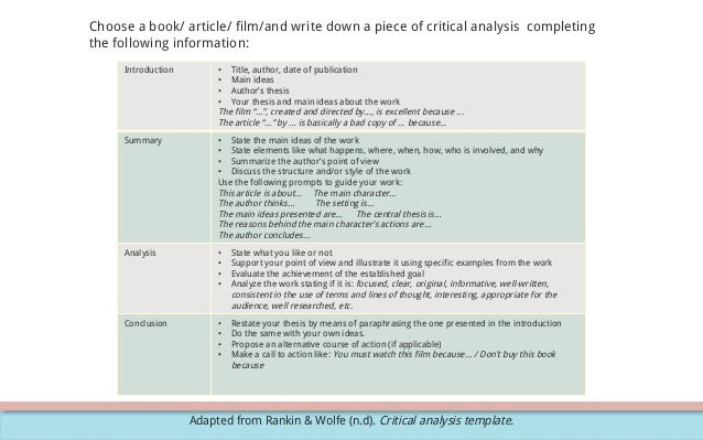Critical analysis with exercisepressed – Critical Analysis Template
