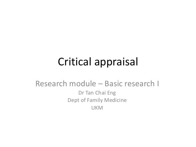 how to write a critical appraisal of research