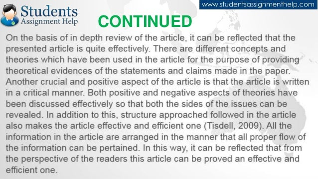 article review assignment essay College essay writing service tutorial psy 356 week 7 assignment: article review for this assignment, select a peer-reviewed journal article relating to an area of learning or cognition (eg, learning, memory, language, motivation, intelligence, creativity.