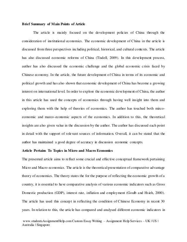 Order economics article review