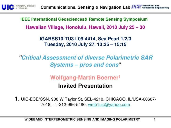 WIDEBAND INTERFEROMETRIC SENSING AND IMAGING POLARIMETRY               1<br />Hawaiian Village, Honolulu, Hawaii...