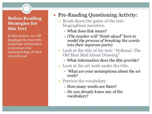 before during and after reading comprehensions Guiding comprehension questions before, during and after reading to assist them to comprehend text self-formulated questions provide a framework for active.