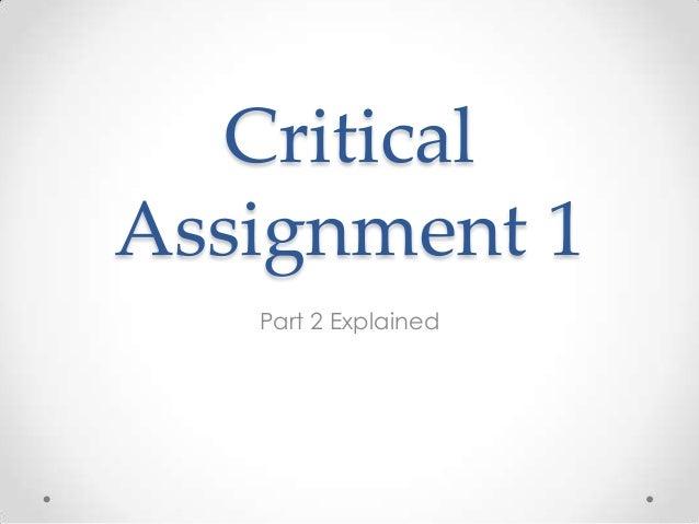 CriticalAssignment 1   Part 2 Explained