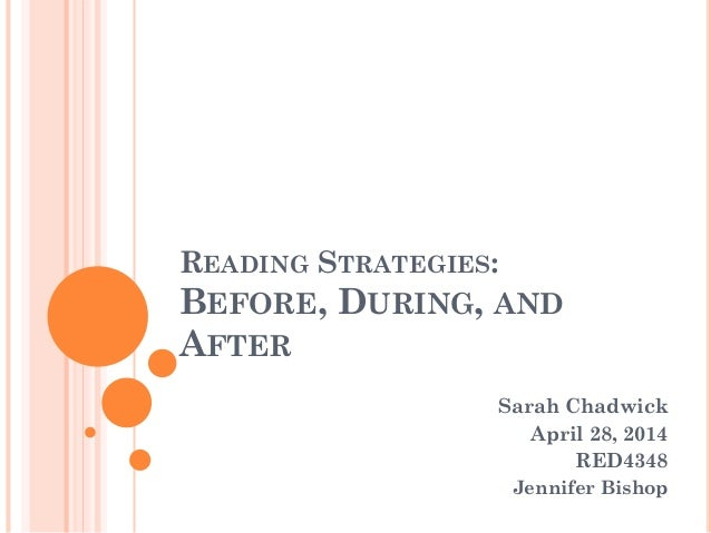 READING STRATEGIES: BEFORE, DURING, AND AFTER Sarah Chadwick April 28, 2014 RED4348 Jennifer Bishop