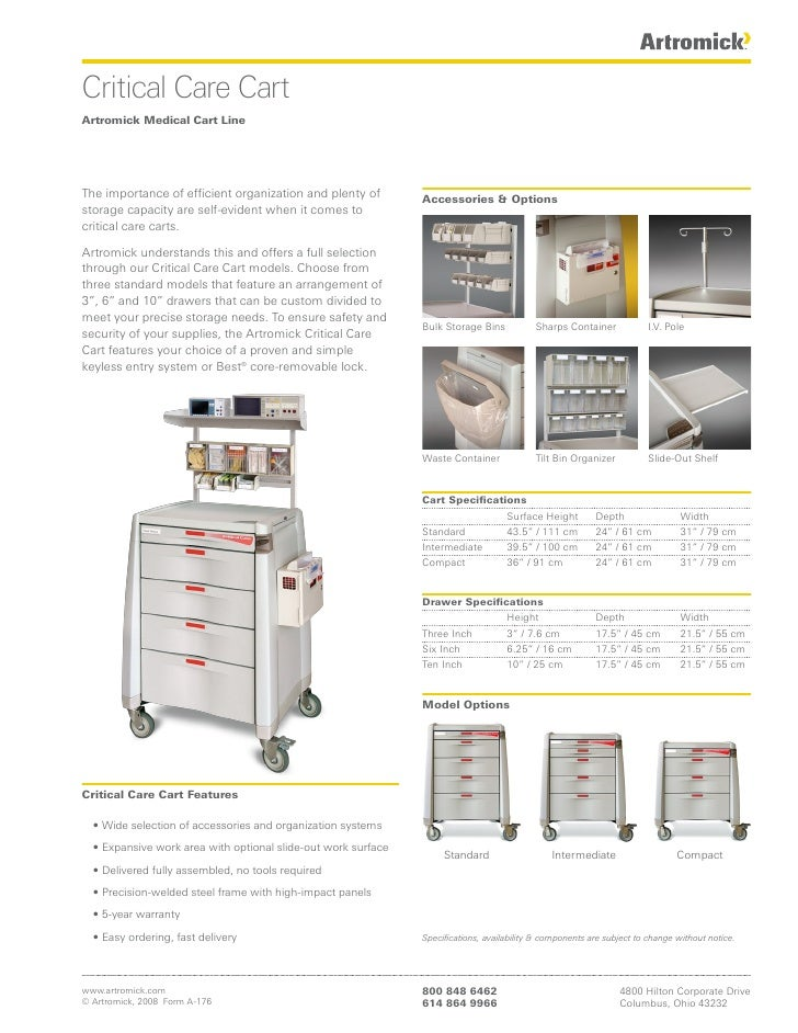 Critical Care Cart Artromick Medical Cart Line     The importance of efficient organization and plenty of         Accessor...