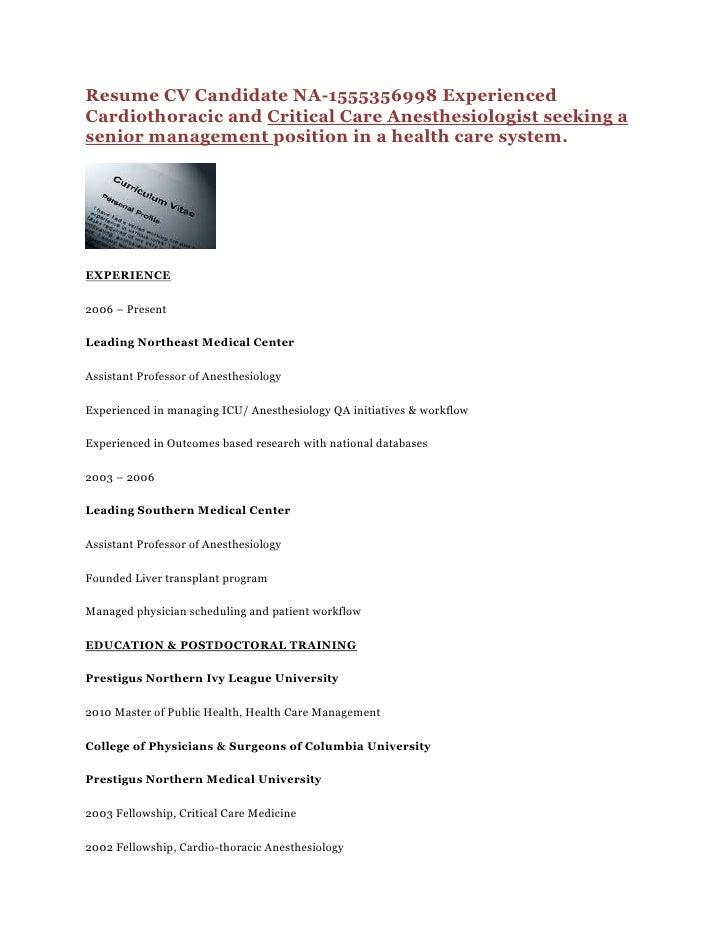 Anesthesiologist Resume - Constes.com