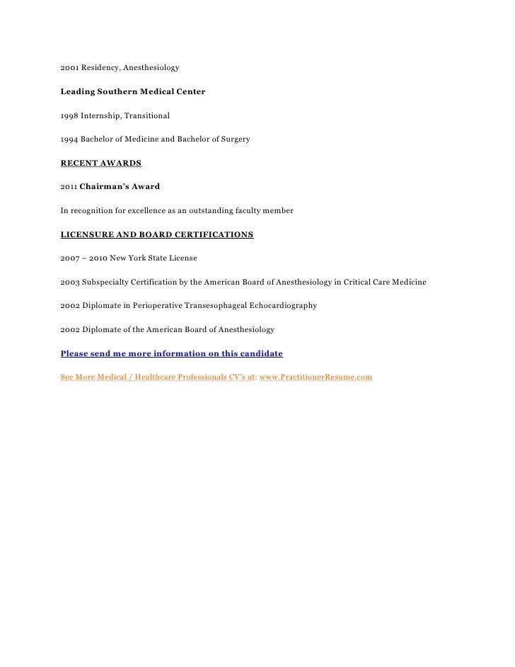 critical care anesthesiologist seeking a senior management position i u2026