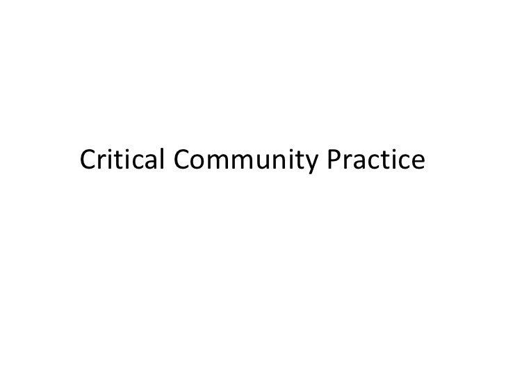 Critical Community Practice<br />