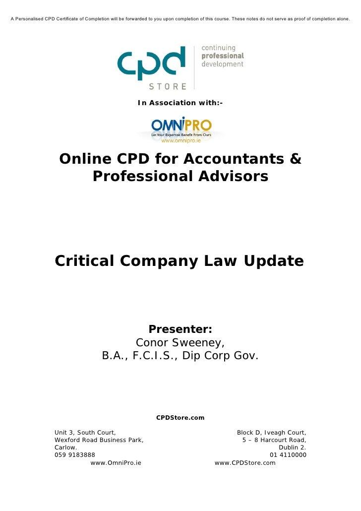 Critical Company Law Update