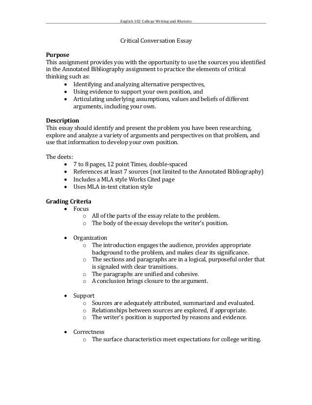 College essay assignment