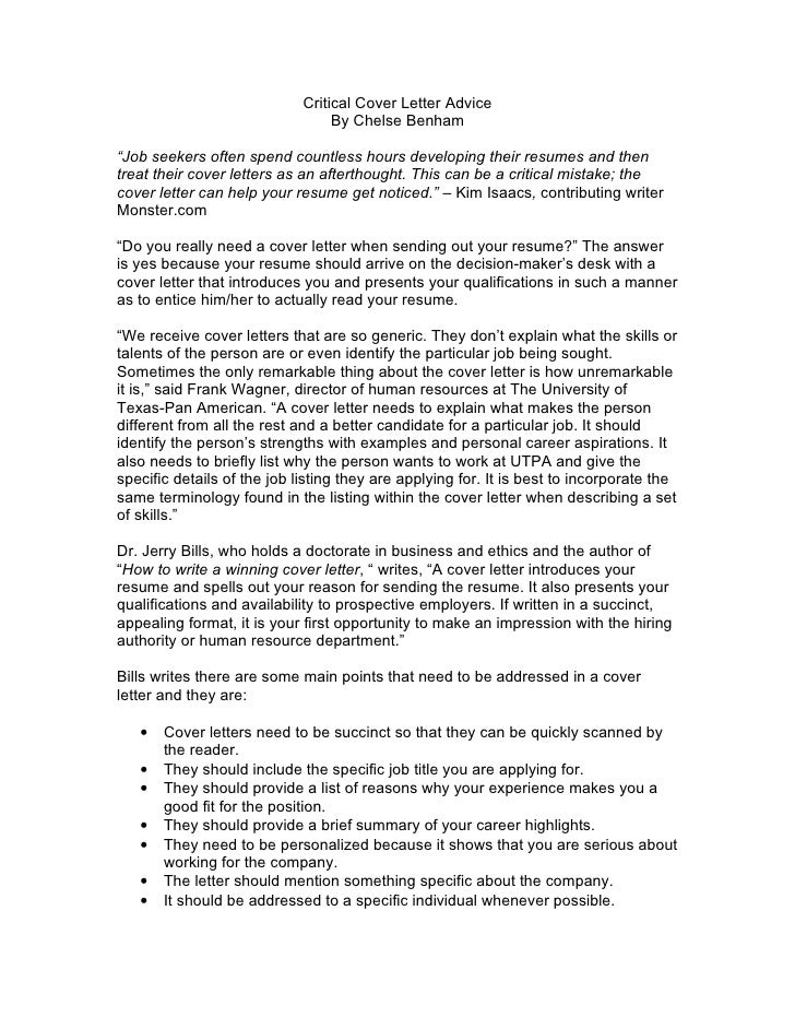 critical cover letter advice by chelse benham job seekers writing ...
