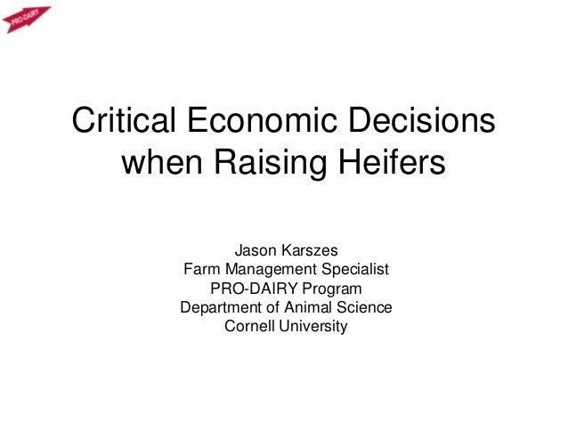 Critical Economic Decisions when Raising Heifers Jason Karszes Farm Management Specialist PRO-DAIRY Program Department of ...