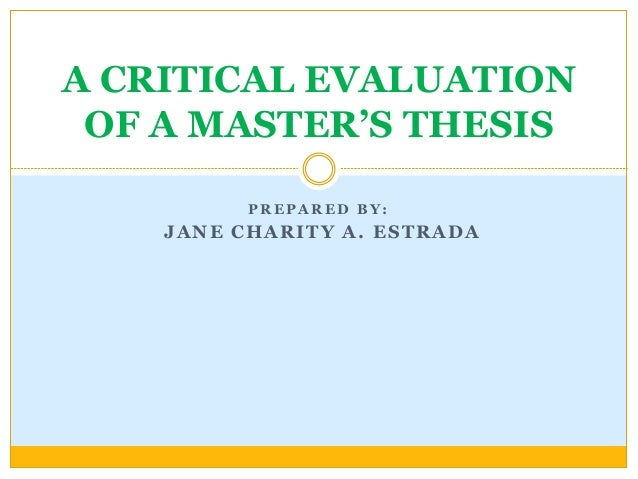 Evaluation master thesis