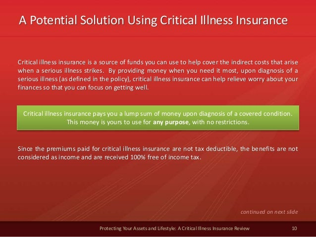 A Potential Solution Using Critical Illness Insurance 10 Protecting Your Assets and Lifestyle: A Critical Illness Insuranc...