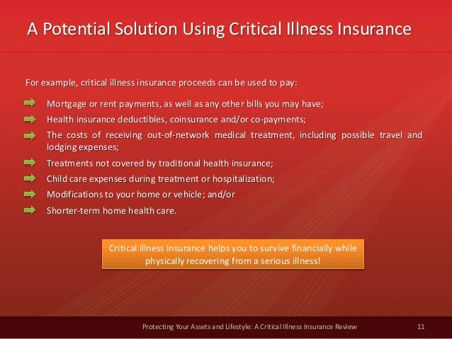 A Potential Solution Using Critical Illness Insurance 11 Protecting Your Assets and Lifestyle: A Critical Illness Insuranc...