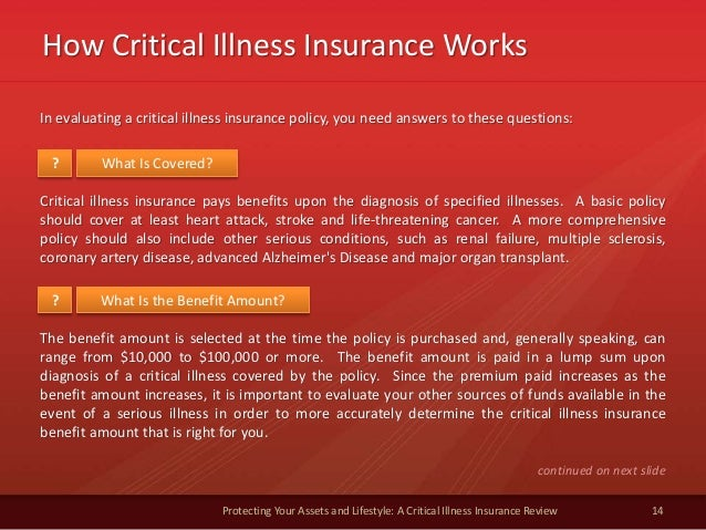 How Critical Illness Insurance Works 14 Protecting Your Assets and Lifestyle: A Critical Illness Insurance Review In evalu...