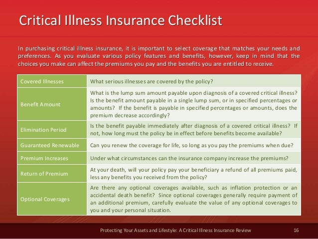 Critical Illness Insurance Checklist 16 Protecting Your Assets and Lifestyle: A Critical Illness Insurance Review In purch...