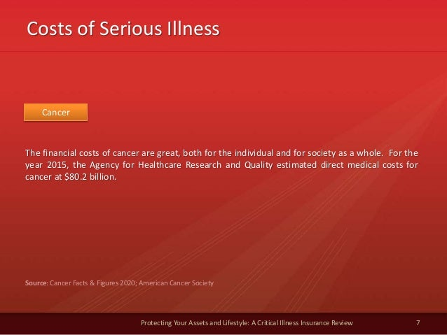 Costs of Serious Illness 7 Protecting Your Assets and Lifestyle: A Critical Illness Insurance Review Cancer The financial ...