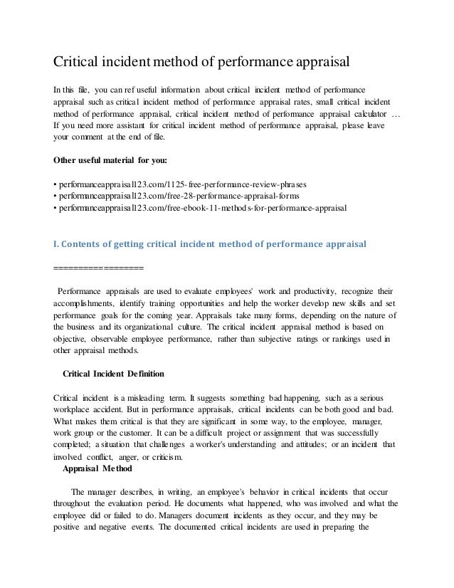 critical incident method of performance appraisal jpg cb  critical incident method of performance appraisal in this file you can ref useful information about