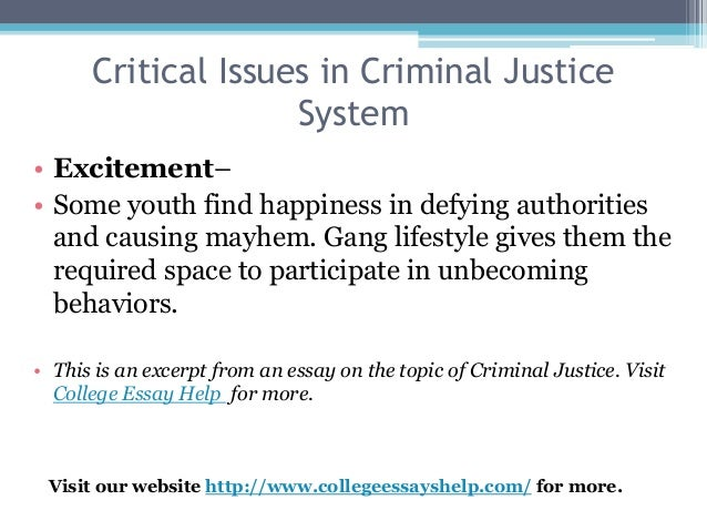 racism in criminal justice system essay Critics of criminal justice reform disagree that racism remains a problem in the modern society they have succeeded in blunting significant changes to the american justice system they cite studies showing built-in safeguards that prevent racism but ignore the likelihood of some juries, practicing.