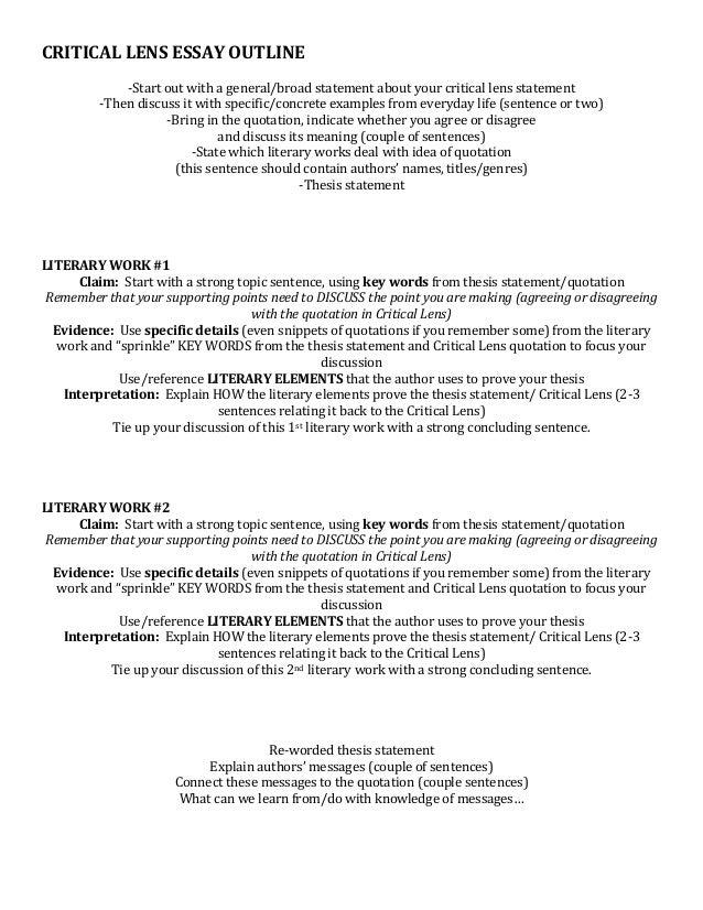 Persuasive Essay Topics High School Students Critical Lens Essay Critical Lens Essay Outline Best  Critical  Wonder Of Science Essay also Essay Paper Checker Critical Essay Outline  Romefontanacountryinncom Corruption Essay In English