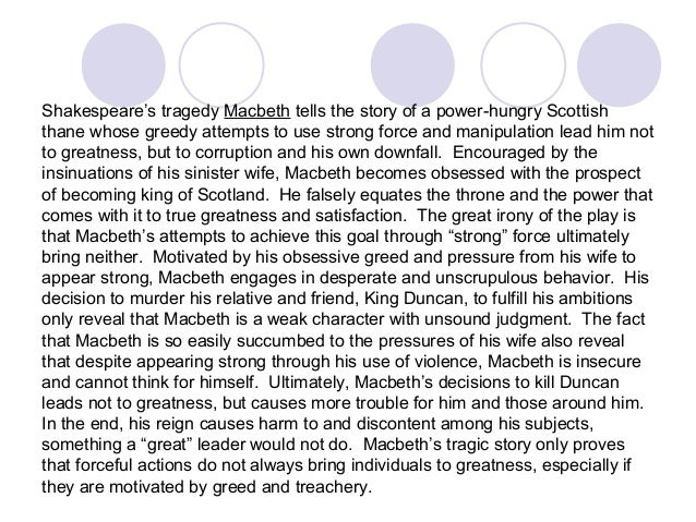 macbeth s corruption and downfall This leads to macbeth's moral corruption and downfall by the play's end it is clear macbeth begins the play as a loyal friend and decent man.