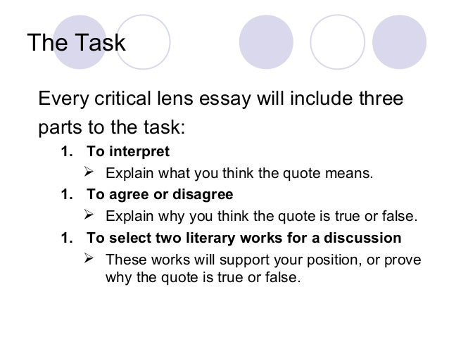 literary elements for critical lens essays Develop a conclusion that evaluates how these stylistic elements affect the work critical  literary analysis essays are a little  writers or literary.