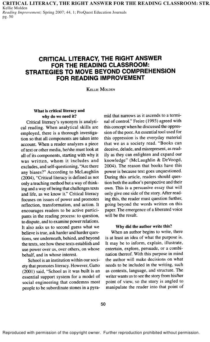CRITICAL LITERACY, THE RIGHT ANSWER FOR THE READING CLASSROOM: STRA Kellie Molden Reading Improvement; Spring 2007; 44, 1;...