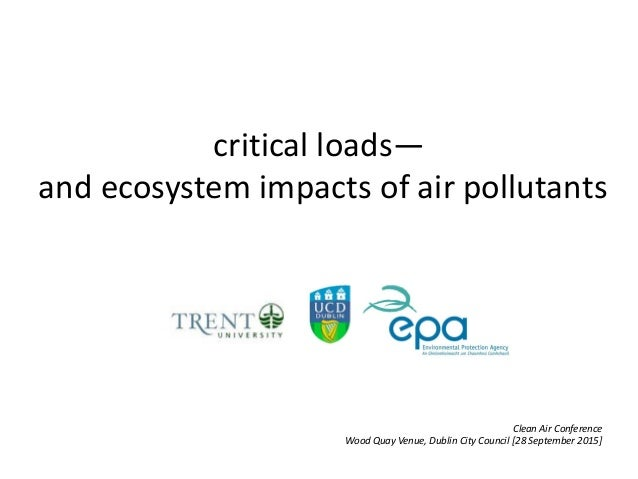 critical loads— and ecosystem impacts of air pollutants Clean Air Conference Wood Quay Venue, Dublin City Council [28 Sept...