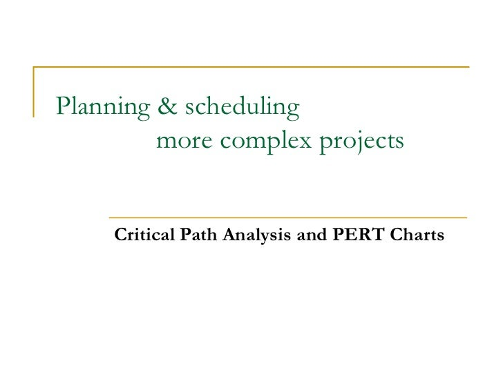 Planning & scheduling  more complex projects Critical Path Analysis and PERT Charts