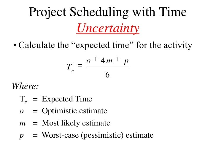 how to solve for time in pert