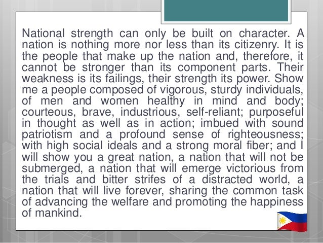 strenghts and weaknesses of manuel l quezon President gloria macapagal-arroyo apparently draws much of her strength from her much-vaunted infrastructure projects, to which she devoted most of this year's state of the many say that the president has a long way to go before realizing her dream of turning a weak economy into a strong republic.