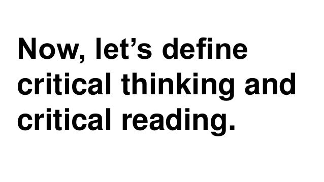 Critical reading, claims