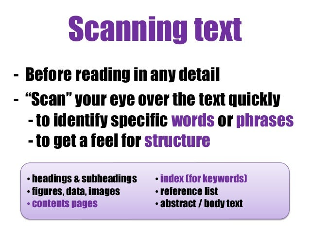 Scanning techniques in critical thinking