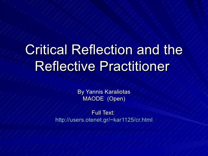 short critical reflection essay This video and associated document explains what reflective writing is (also called writing a reflection), along with visual examples and a short assessment.